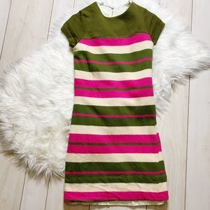 Vintage 1960s Wool Pink Green Striped Mod Dress